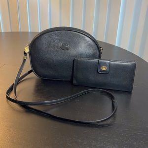 Vtg. GUCCI Black Leather Camera Bag w/ Wallet